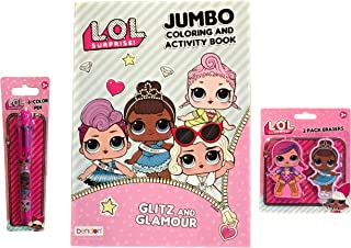 L.O.L. SURPRISE! Coloring Book Jumbo 2 Pack Erasers with 6 Color Clicker Pen