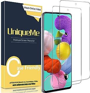 UniqueMe [2-pack] skärmskydd kompatibelt med Samsung Galaxy A51/A51 5G härdat glasfilm, [Anti-repa] [Anti-fingeravtryck] [...