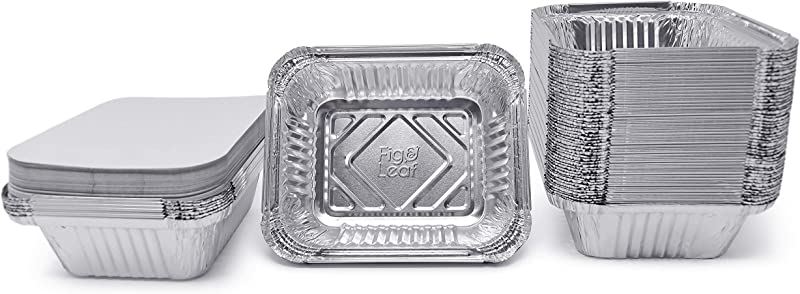 Fig Leaf 120 Pack Premium 1 LB Takeout Pans With LIDS Small 5 6 X 4 6 X 1 9 L Top Choice Disposable Aluminum Foil For Catering Party Meal Prep Freezer Drip Pans BBQ Potluck Holidays