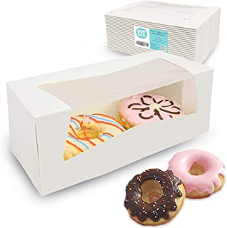 [25 Pack] 9x4x3.5 Inches White Donut/Bakery Box with Window - Auto-Popup Cardboard Gift Packaging and Baking Containers, Cupcake, Cookie and Loaf Bread Boxes