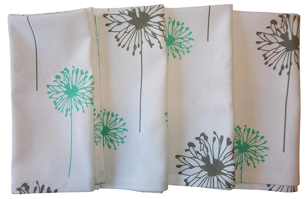 Crabtree Collection Gray Dandelion Cotton Cloth Napkins Turquoise/Gray Dandelion (Set of 4)