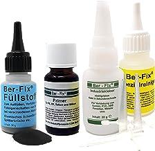 Ber-Fix® Professionele kunststof lijmset zwart met primer + punten + reiniger oplosmiddel - lasnaad lijm voor PVC ABS PE P...