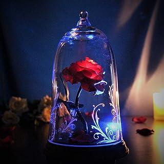 ガラスの中の魔法の光るバラ 美女と野獣 プロポーズ 誕生日 結婚祝い 記念日 女性 プレゼント