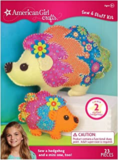 American Girl Crafts DIY Hedgehog Stuffed Animals Sew and Stuff Kit, 11.25'' W x 7.75'' H and 6.25'' W x 5.'' H