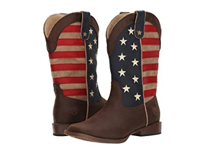 Roper Kids American Patriot (Big Kid) (Brown Faux Leather Vamp Stars & Stripes Shaft) Cowboy Boots