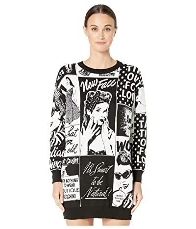 Boutique Moschino Newspaper Print Sweater Dress (Ivory Multi) Women