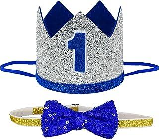 Maticr Mr Wonderful First Bday Crown & Bow Tie Set Baby Boys 1st Smash Cake Hats