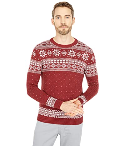 Selected Homme Flake Pattern Crew Neck Sweater (Red Dahlia) Men