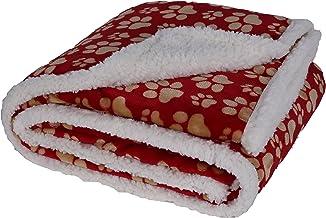 "Longrich Flannel Pawn Print & Ultra Soft Sherpa Throw Blanket, 50"" L X 60"" W, Red"