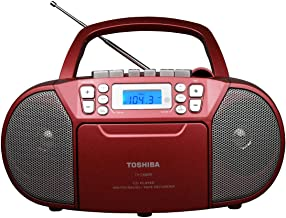 Toshiba TY-CKM39(R) Portable MP3 CD Cassette Boombox with AM/FM Stereo and Aux Input Metallic Red