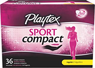 Playtex Sport Regular Absorbency Compact Tampons, 36 Count