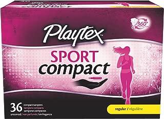 Playtex Sport Regular Absorbency Compact Tampons, 36 Count