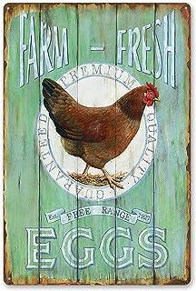 MMOUNT Farm Fresh Free Range Eggs Retro Garage Tin Signs Country Home Kitchen Coop Decor