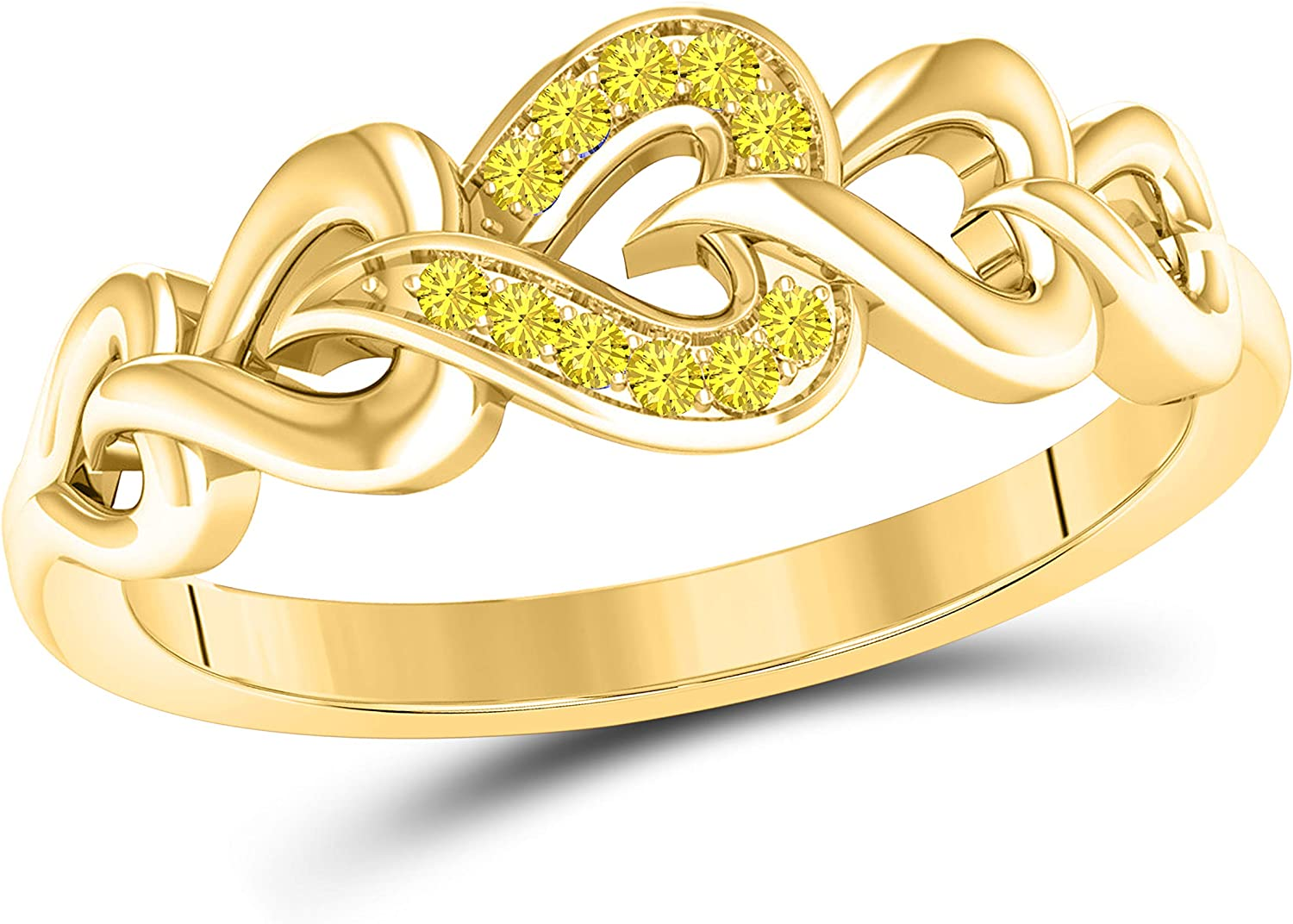 DS Jewels Infinity Heart Rings CZ Courier shipping free Round Yellow Yell Philadelphia Mall Sapphire 14k