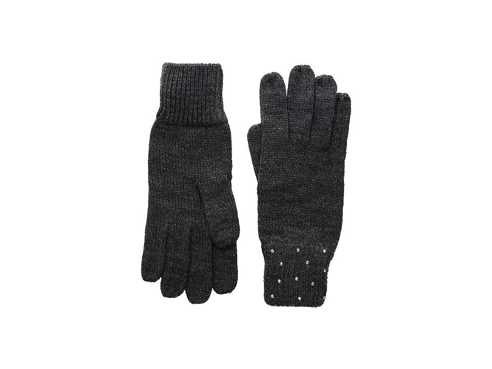 Vince Camuto Rhinestone Rib Gloves (Dark Charcoal Melange) Dress Gloves