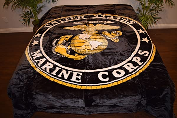 V S Signature Collection Black United States Marines Corp Logo Luxury Super Soft Medium Weight Queen Size Mink Blanket 1ply