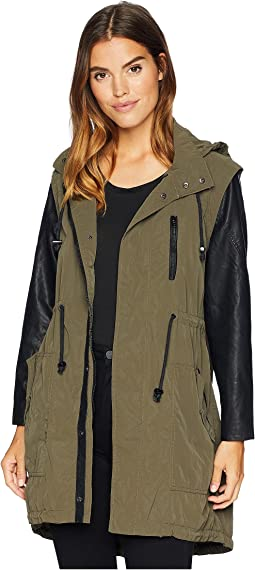 Hooded Olive Green and Vegan Leather Sleeves Jacket in Similar, But Different