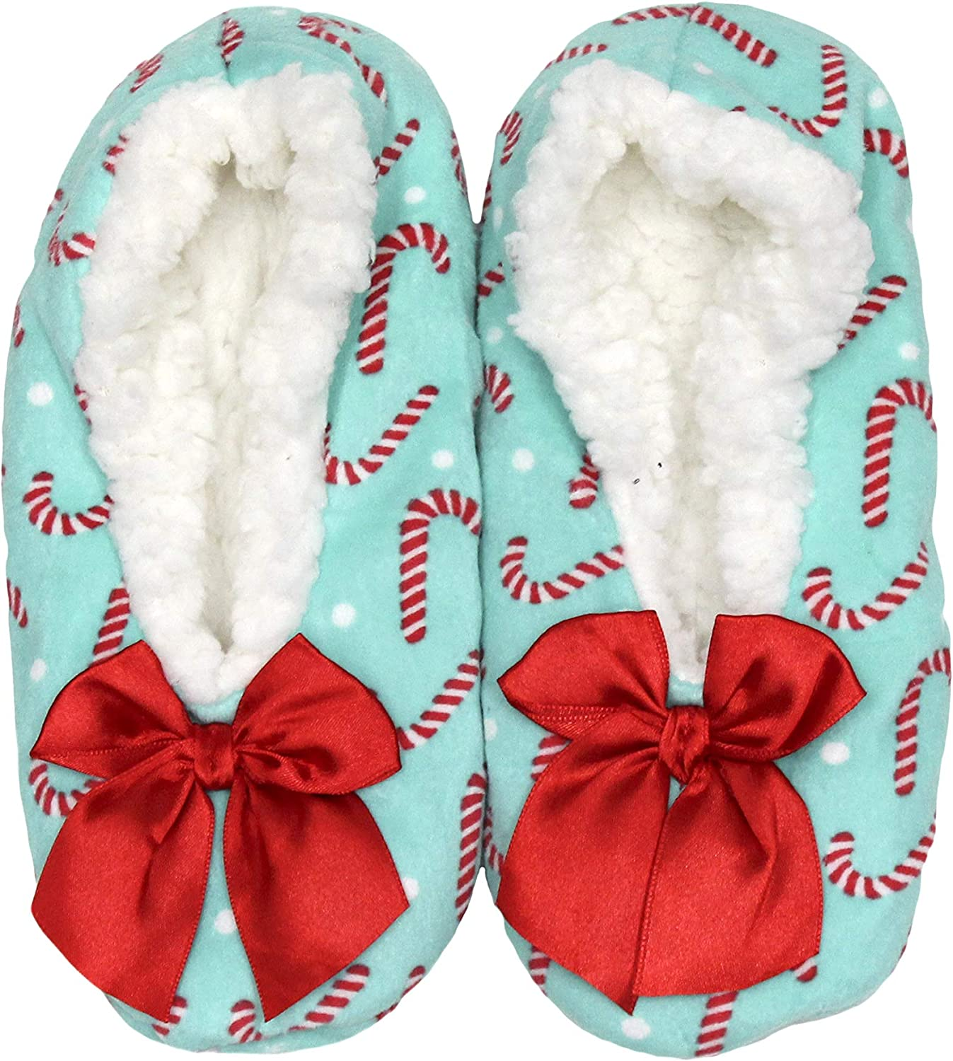 gold Medal Women's Fleece Festive Winter Holiday Slippers with Sherpa Lining and Bow