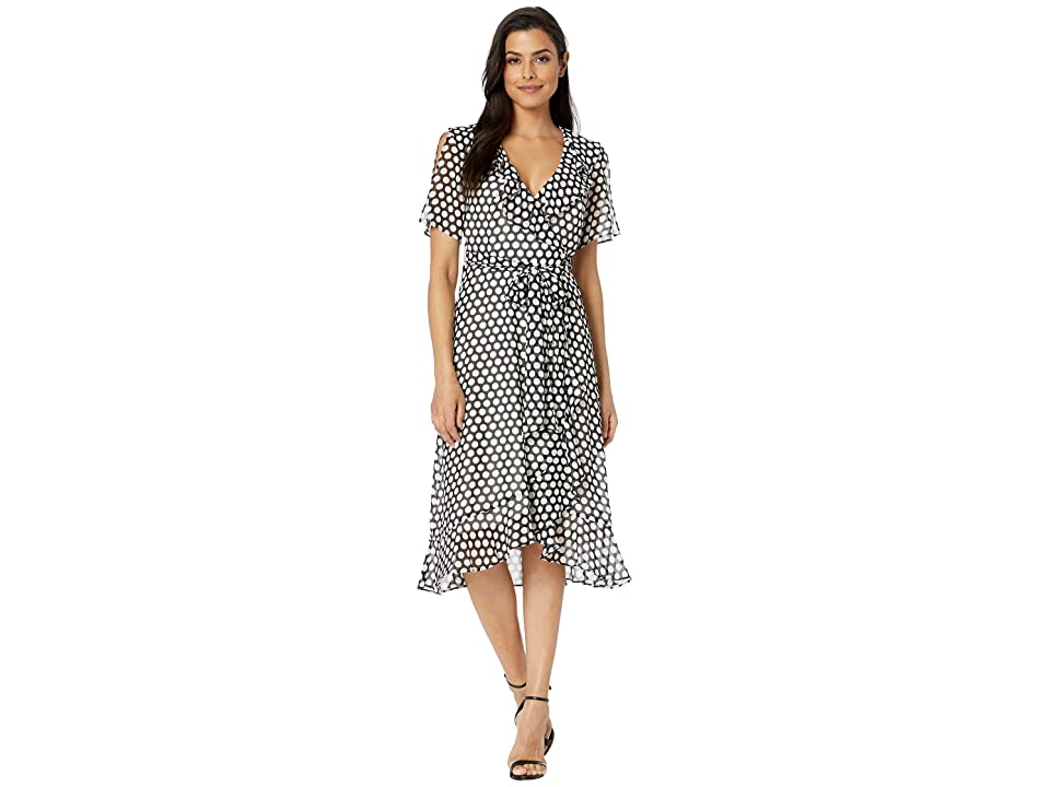 36e9f5bd756b Donna Morgan 3/4 Sleeve Polka Dot Midi Wrap Dress (Ivory/Black Multi) Women's  Dress