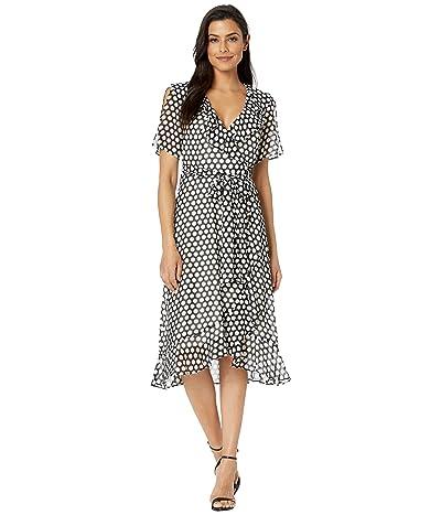 Donna Morgan 3/4 Sleeve Polka Dot Midi Wrap Dress (Ivory/Black Multi) Women