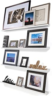 Wallniture Denver Set of 4 White 46 Inch Floating Shelf Bookshelves & Display Bookcase: Modern Wood Shelving Units for Kids Bedrooms & Nurseries - Wall Mounted Storage Shelves