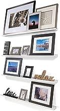 Wallniture Denver Set of 4 White 46 Inch Floating Shelf Bookshelves & Display Bookcase: Modern Wood Shelving Units for Kids Bedrooms & Nurseries - Wall Mounted Storage Shelves