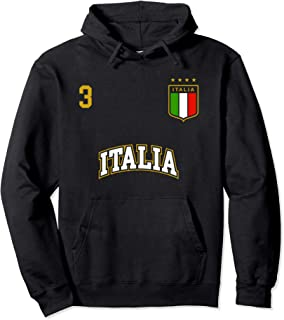 Italy Soccer Team Hoodie Number 3 Sports Italian Flag Shirt