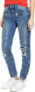 Tommy Jeans X Gigi Hadid Women's Speed Distressed Ankle Zip Jeans, Blue, 26