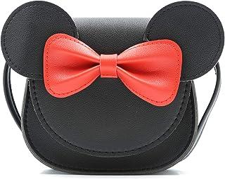 HXQ Little Mouse Ear Bow Crossbody Purse,PU Shoulder Handbag for Kids Girls Toddlers