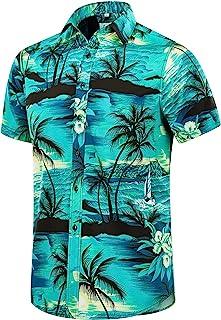 EUOW Men's Hawaiian Shirt Short Sleeves Printed Button Down Summer Beach Dress Shirts