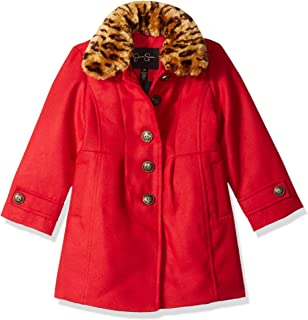 Jessica Simpson Girls' Faux Wool Dress Coat Jacket with Cozy Collar