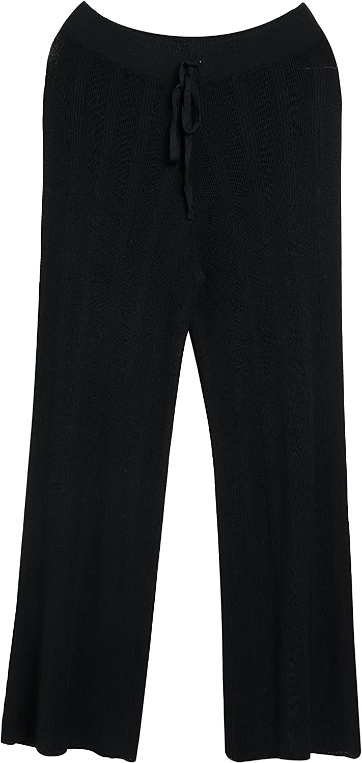 Women's Wide Leg Pants Large Size Loose Casual Trousers Lace Up Nine Points Knit