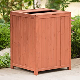 Leisure Season TR6565 Patio Trash Receptacle - Brown - Large Indoor Outdoor Wooden Rubbish Storage Bins for Porch, Yard, Patio - Garbage Can, Waste Basket and Recycling Container with Top Open Lid