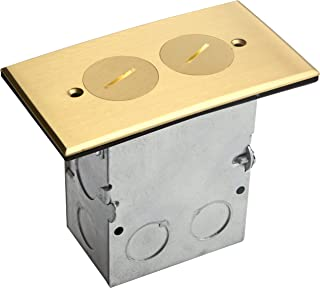 Enerlites Brass Coin Open Cover Floor Box kit 975506-C, 1-Gang 20A Tamper with weather Resistant Duplex Receptacle