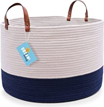 """OrganiHaus XXL Cotton Rope Basket with Real Leather Handles   Wide 20""""x13""""   Large Decorative Basket with Genuine Leather ..."""
