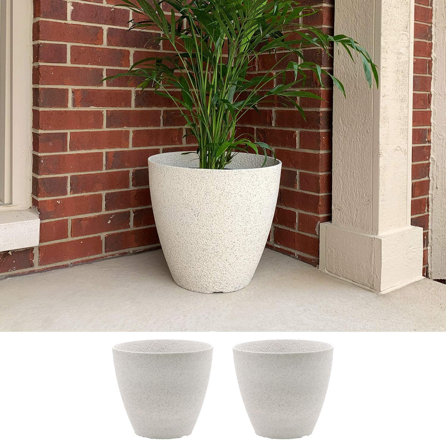 2-Pack 15-in. Round Faux Stone Planter Garden Resin Potted Boston Mall Long-awaited Flowe