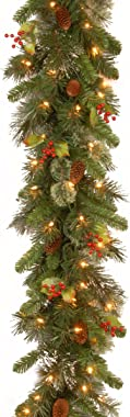 National Tree Company Pre-lit Artificial Christmas Garland Flocked with Mixed Decorations and White Lights Wintry Pine-9 ft,