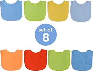 Neat Solutions 8 Count Multi-Color Solid Knit Terry Feeder Bib, Boy