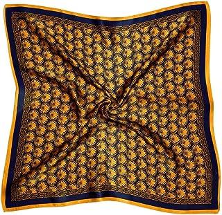 Bees Knees Fashion Foulard Quadrato In Seta Stampata Con Farfalle Di Colore Giallo Arancio