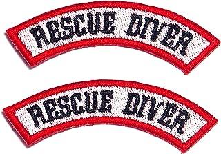 AstroG@ BP20 2 X Rescue Diver Scuba Diving EMT EMS رقعة معنوية مطرزة 7.5 × 1.5 سم خلفية خطافية