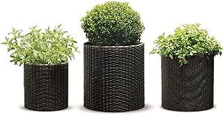 Keter Round Cylinder Plastic Rattan Resin Garden Flower Plant Planters Decor Pots 3 pc Set, assorted sizes, Brown (Renewed)