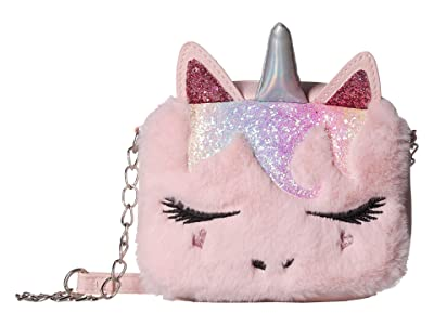 OMG! Accessories Faux Fur Unicorn Critter Crossbody (Pink) Cross Body Handbags