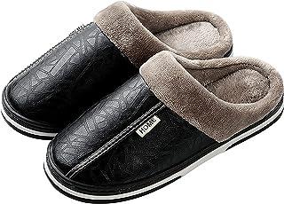 CELANDA Slippers Women's Men's Plush Winter Slippers Women Memory Foam House Mule Slippers Non-Slip Sole Slippers, A Blac...