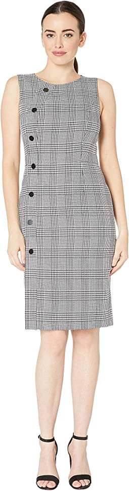 Sleevless Plaid Sheath Dress with Side Button Detail