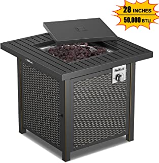 TACKLIFE Propane Fire Pit Table, 28 inches Gas Fire Table, 50,000 BTU Auto-Ignition, Resin Wicker Panels, Lava Stone, Steel Material, No Ash, CSA Safety Certification-HXGFP02