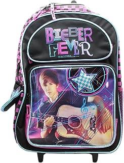 Justin Bieber Superstar Bieber Fever Black/Pink Kids Rolling Backpack (16in)