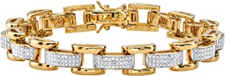 سوار فانسي لينك مطلي بالذهب عيار 18 قيراط بنمط بافيس من مجوهرات بالم بيتش للرجال 8.5 بوصة