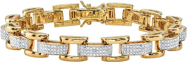 Palm Beach Jewelry Men's White Diamond Accent Pave-Style 18k Gold-Plated Fancy-Link Bracelet 8.5