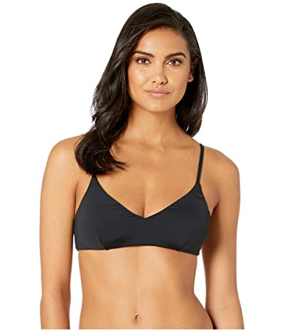 Roxy Solid Beach Classics Moderate Athletic Tri Swim Top (True Black) Women