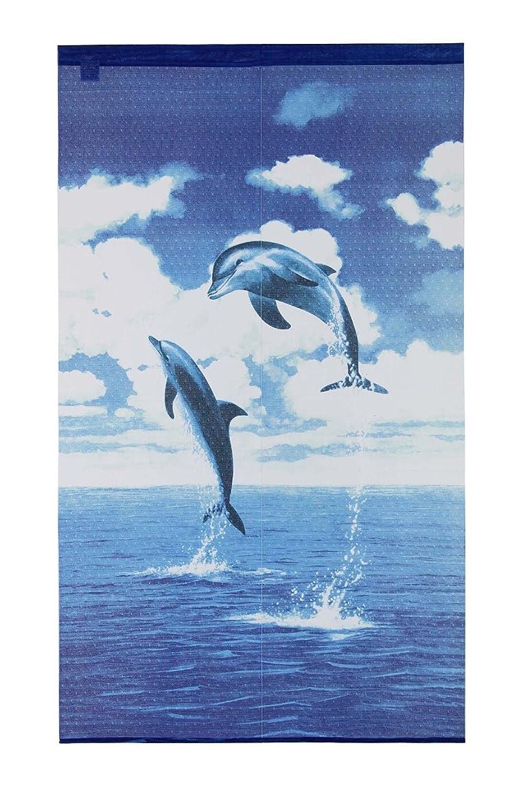 サロン競合他社選手歴史narumikk ブルー 85×150cm のれん ドルフィン 09-027
